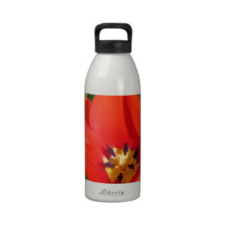 Red Orange Tulip, Floral Photography by *Mom* Water Bottles