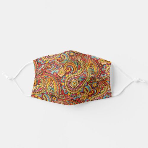 Red Orange Turquoise Blue Indian Floral Paisley Cloth Face Mask