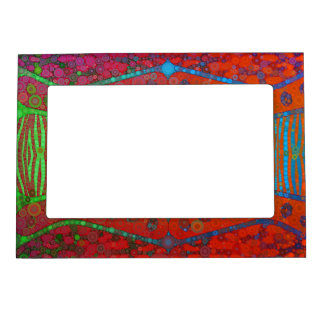 Red Orange Turquoise Florescent Zebra Magnetic Photo Frame