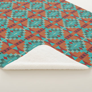 Red Orange Turquoise Teal Eclectic Ethnic Look Sherpa Blanket