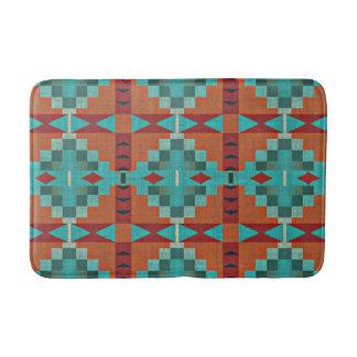 Red Orange Turquoise Teal Rustic Mosaic Pattern Bathroom Mat