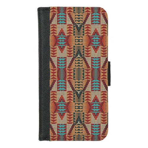 Red Orange Turquoise Teal Rustic Mosaic Pattern iPhone 87 Wallet Case