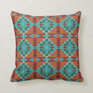 Red Orange Turquoise Teal Rustic Mosaic Pattern