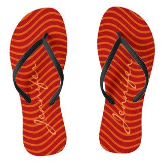 Red Orange Wavy Lines Pattern Monogram Flip Flops