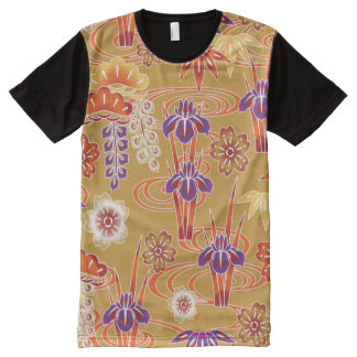 Red Orange White Fine Japanese Floral Pattern All-Over Print Shirt