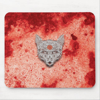 Red / orange Wolf Sugar Skull Mouse pad