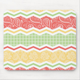 Red-Orange, Yellow, and Green Country Patterns Mouse Pad