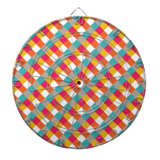 Red, Orange, Yellow, and Teal Checkered Plaid Dartboard