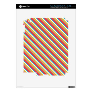 Red Orange Yellow and Teal Diagonal Stripes iPad 3 Decal