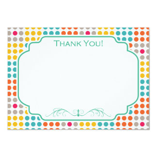 Red, Orange, Yellow, and Teal Polka Dot Squares Card