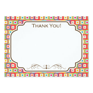 """Red, Orange, Yellow, and Teal Retro Squares 4.5"""" X 6.25"""" Invitation Card"""
