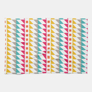Red, Orange, Yellow, and Teal Tribal Aztec Pattern Hand Towels