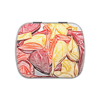 red orange yellow balloon sketch candy tins