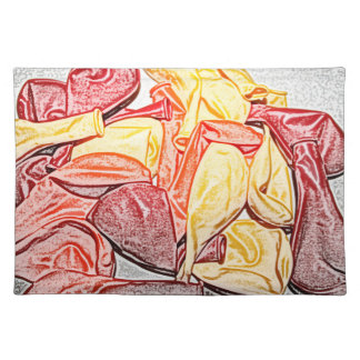 red orange yellow balloon sketch cloth placemat