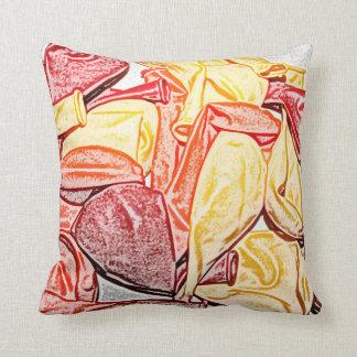 red orange yellow balloon sketch pillow