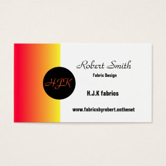 Red orange yellow & black text monogram bus/cards business card