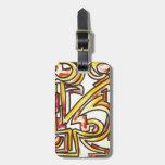 Red Orange Yellow Brushstrokes - Modern Art Bag Tags
