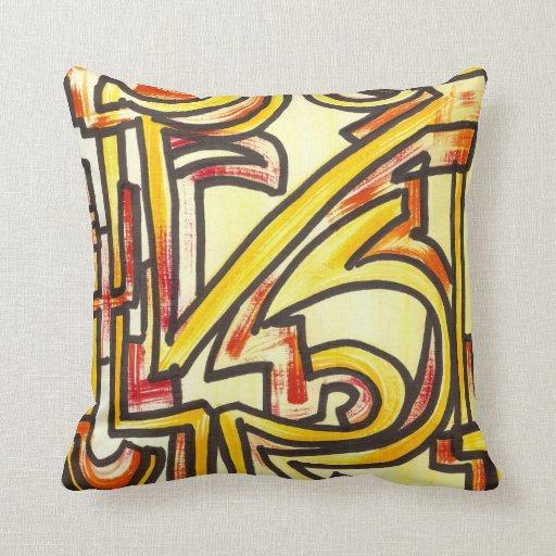 Red Orange Yellow Brushstrokes - Modern Art Throw Pillow Zazzle