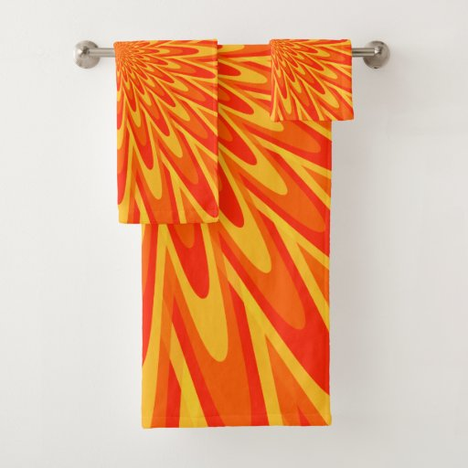 Red, Orange, Yellow Bursting Pattern Towel Set