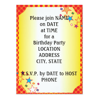 Red Orange Yellow Dots Oval Party Collage Invite