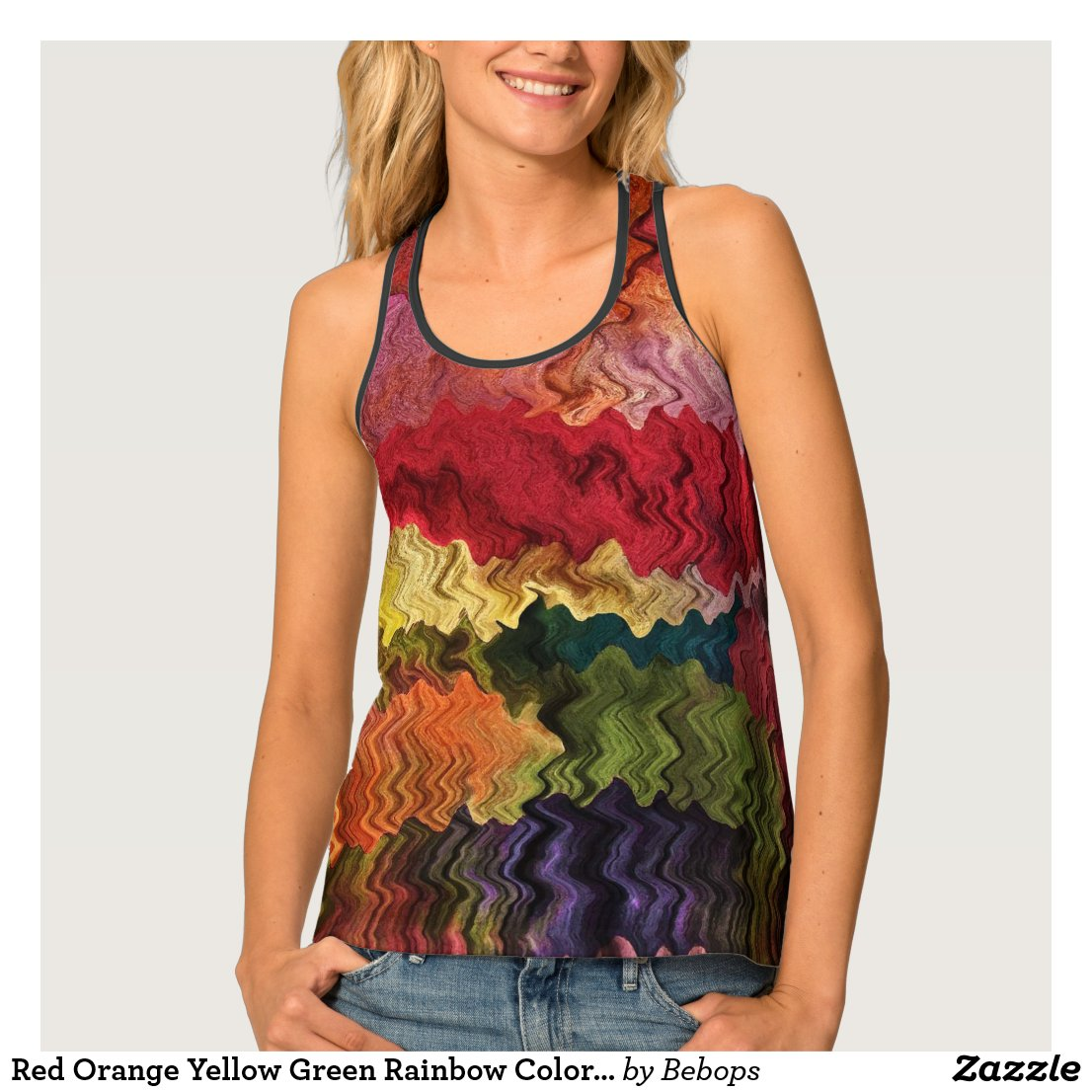 Red Orange Yellow Green Rainbow Colors Tank Top