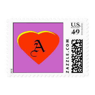 Red Orange - Yellow Heart Letter A The MUSEUM Zazz Postage