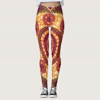 Red Orange Yellow Mosaic Abstract Pattern Leggings