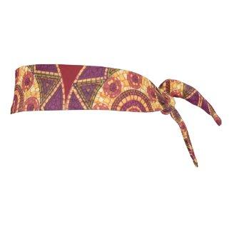 Red Orange Yellow Mosaic Abstract Tie Headband