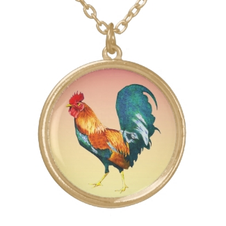 Red Orange Yellow Rooster Bird Animal Necklace