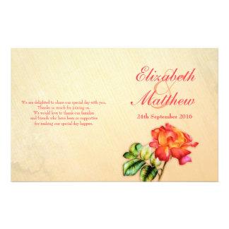 Red orange yellow tea rose wedding programme flyer