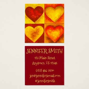 Professional Business Red Orange Yellow Watercolor Heart Hearts Art Arts Square Business Card
