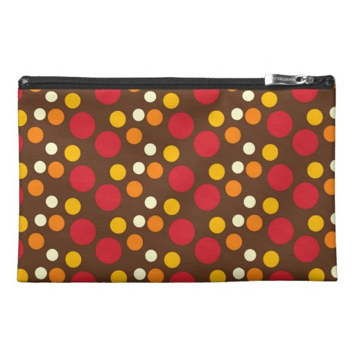 Red Orange Yellow White Brown Polka Dots Pattern Travel Accessory Bags