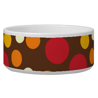Red Orange Yellow White Brown Polka Dots Pattern Bowl