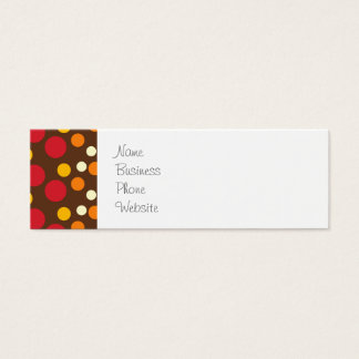 Red Orange Yellow White Brown Polka Dots Pattern Mini Business Card