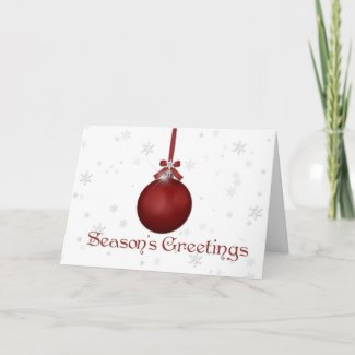 Red Oranment Snowflakes Christmas Greeting card