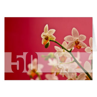 Red Orchid • 50th Birthday Card