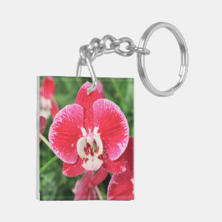 Red Orchid blossom Keychain