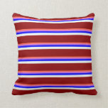 [ Thumbnail: Red, Orchid, Blue, Mint Cream & Dark Red Stripes Throw Pillow ]