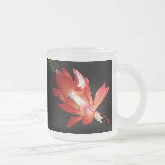 Red Orchid Cactus Flower 10 Oz Frosted Glass Coffee Mug