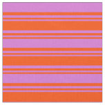 [ Thumbnail: Red & Orchid Colored Lined/Striped Pattern Fabric ]