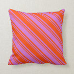 [ Thumbnail: Red & Orchid Colored Lined/Striped Pattern Pillow ]