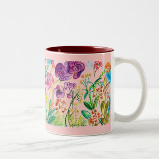 Red Orchid Garden Two-Tone Coffee Mug