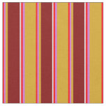 [ Thumbnail: Red, Orchid, Goldenrod, Maroon & Lavender Lines Fabric ]
