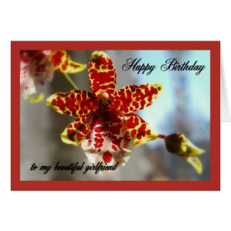 Red Orchid Happy Birthday to my Girlfriend Card