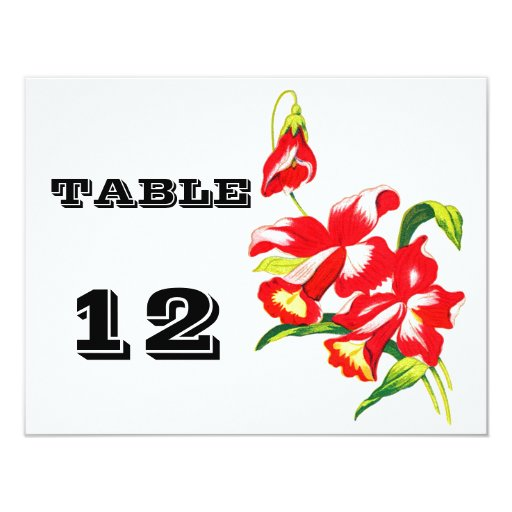 Red Orchid Wedding Flowers Table Number Cards