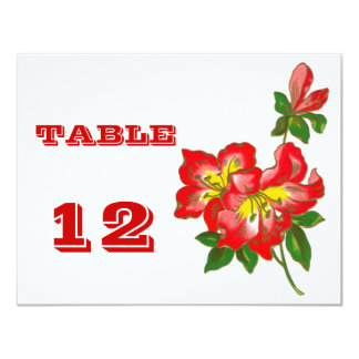 Red Orchid Wedding Flowers Table Number Cards 2