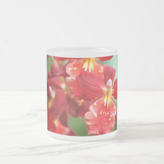 Red Orchids 10 Oz Frosted Glass Coffee Mug