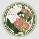 red orchids 1 gift tags round sticker