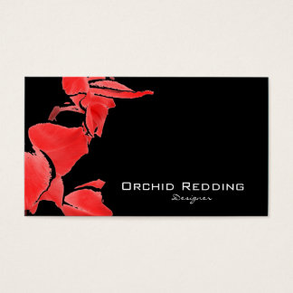 Red orchids exotic florist wedding business card