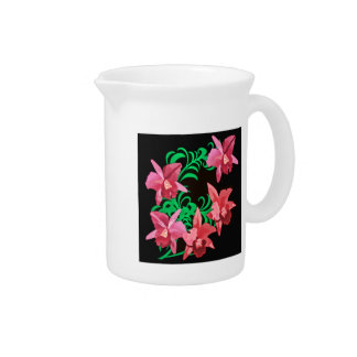 Red Orchids of Black Background Drink Pitcher